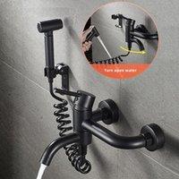 Black Toilette Tragbare Bidet Duschkopf Handheld Bidet Sprayer Set mit 150mm Abstand Heiß- und Kaltwassermischer Wasserhahn