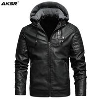 Men' s Fleece Liner PU Leather Jackets Coats with Hood A...