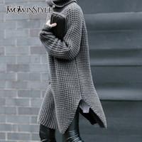 TWOTWINSTYLE Kore Yan Bölünmüş Bayan Triko Turtleneck Uzun Kollu Sıcak Kalın Kadın Triko Sonbahar Kış Moda Yeni 201017