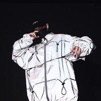 Veste réfléchissante hommes Ensemble pied de col cool Planche à roulettes dynamique Vêtements Scène Hiphop Streetwear Homme Manteau Veste Nighttime