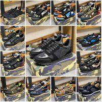 أعلى جودة التمويه حذاء سنيكر إمرأة رجل برشام أحذية رصع الشقق شبكة كامو جلد الغزال عارضة المدربين rockrunner أحذية chaussures