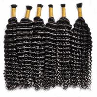 Alta qualità Bulk Capelli Umani Bundles Deep Wave Braiding Capelli 24 pollici Nero naturale Colore 100% remi capelli 14-28 pollici