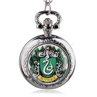 Nova Moda Witchcraft Slytherin School Snake Pingente Colar Dome Quartz Bolso Relógio Homens Mulheres Crianças Presente