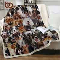 Beddingoutlet 3D Köpek Battaniyeleri Yatak için Pet Husky Bulldog Sherpa Battaniye Hayvan Kahverengi Koce Kidsbedding Kürklü Battaniye 150x200 cm 201112