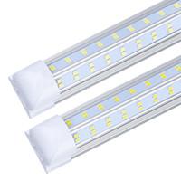 Couverture de la boutique à LED de 40 pcs 8FT, 120W 12500lm, couvercle de la lentille transparente, double latérale 4 rangs V lampe ampoule intégrée, lumière de porte de refroidisseur à LED
