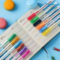 12 가지 색상 더블 라인 개요 펜 세트 반짝이 금속 컬러 형광펜 밖으로 라인 마커 펜 아트 페인팅 학교 용품 210226