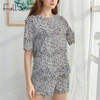 Fallsweet ليوبارد طباعة منامة النساء مثير الملابس الداخلية الصيف السراويل الأكمام السيدات منامة مجموعات النوم S إلى XL ليلة البدلة Y200708