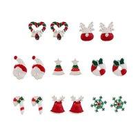 크리스마스 스터드 귀걸이 세트 8pairs / 세트 사슴 크리스마스 트리 눈사람 산타 클로스 눈송이 스터드 여성 액세서리에 대 한 패션 귀걸이 쥬얼리