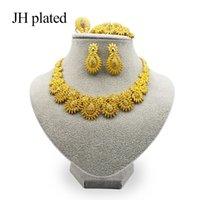 Jhplated رائعة فاخرة دبي مجوهرات مجوهرات من الذهب اللون الهند نيجيريا الأفريقية الأفريقية مجوهرات اكسسوارات مجوهرات بالجملة 201130