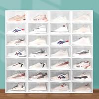 Caja de zapatos clara apilable PP Plastic Clamshell Almacenamiento Caja de almacenamiento Caja de almacenamiento Caja de deporte plegable Sneaker Storage 4 colores