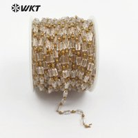WT-RBC081 WKT Clear Crystal Beads Chain Luxe Style Jewelry Recetangle Shape Glass With Brass Wire Wrapped Handmade Chain