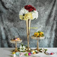 Parti Dekorasyon Altın Düğün Çiçek Vazolar 74 cm Yüksek Masa Centerpiece Metal Gümüş Trompet SENYU19601 için Standı
