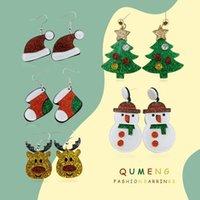 DANNGLE Chandelier Qumeng 2021 Cartoon Santa Santa Noël Arbre de Noël Snownman Bottes d'argent Acrylique Boucles d'oreilles pour femmes Décorations de Noël Chapeaux de chapeaux