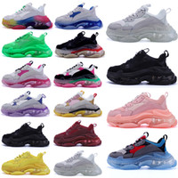 High Casual Hombres Mujeres Casual Papá Shoes Neon Green Triple S 17FW Sneakers Tripler Black Pink Crystal Clear Sole Paris Plataforma