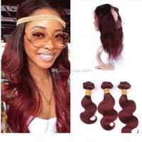 Borgoña 360 Cierre frontal de encaje con paquetes # 99J Wine Red Body Wave Brasil Virgin Human Hair Weaves con 360 Full Encace Band Frontals