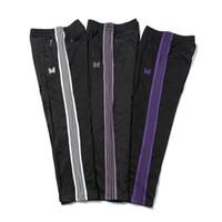 Casual Streetwear AWGE İğneler Sweatpants Kadın Erkek Çizgili Fermuar AWGE Pantolon Kelebek Nakış Koşucular İğneler Pantolon 200930