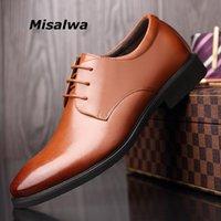 أحذية اللباس misalwa الأعمال البني الرجال الجلود الرسمي حجم كبير 38-48 قطرة الأحذية المدببة الرجال ديربي