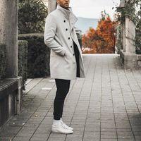 Высококачественная траншеи для желоба Мужчины Зимние Классические Тонкие Длинные Пальто Мужчины Осень The Trench Сплошная Длинная Ветровка Винтажные Смешивания1
