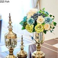 2 Adet / takım Avrupa Retro Cam Vazo Altın Metal El Sanatları Dekoratif Çiçek Vazolar Masaüstü Süsler Çiçek Eklemek Antika Ev Dekor