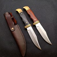 Hot Sale! HUNTER Outdoor Survival Straight Knife DC53 Satin Blade Full Tang Brass + Rosewood Handle Tactical Knives With Leather Sheath