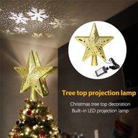 Weihnachtsbaum Topper LED Schneeflocke Projektor Lichter Home Party Urlaub Weihnachtsdekoration Urlaub Beleuchtung Lampe 2021 Neues Jahr 201006