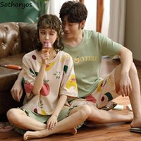 Pajama sets Pantalones de manga corta de verano Tamaño grande 3xl ocio impreso transpirable parejas de moda coreano estilo de dormir ropa de dormir Y200708
