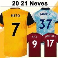 20 21 Neves Mens Futebol Jerseys Boly Cavaleiro Diogo J. Home Amarelo Away Black 3rd Camisas de futebol Lobos de manga curta Maillots de pé