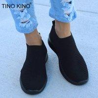 TINO KINO Mulheres Plano Knitting Sapatilhas Outono Sapatos New 2020 Plus Size deslizamento Feminino malha vulcanizada Ladies On respirável Casual 1006