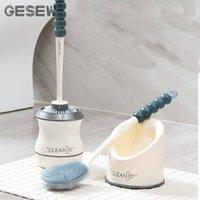 GESEW Туалетная щетка длинная ручка мягкая резиновая кисть для чистки туалета с базой для чистки ванной комнаты инструмент для ванной аксессуары набор 200923