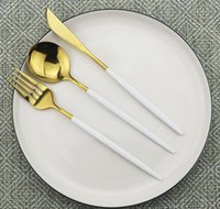 24pcs set Black Gold Dinnerware Cutlery Set Dessert Fork Fla...