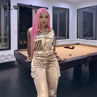 WLWXR Rahat İki Parçalı Set Kadın Ter Suit Yansıtıcı Bayanlar Eşofman Kadın Seksi Kırpma Üst Ve Pantolon Kadın Neon Kulübü Kıyafetler T200528