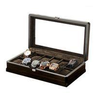 Boîtes de montre Caisses de luxe 2021 Stockage Fibre 12 Grids Wood Wood Wood Boîte Étui Verres Pratique lunettes Brown Bijoux Bijoux Organiseur1