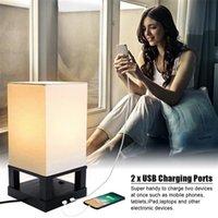 새로운 40W (전구 제외) 테이블 램프 미국 표준 블랙 4 코너베이스 (듀얼 USB 인터페이스) 따뜻한 조명 테이블 램프 ZC001286