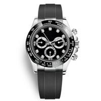 Borracha Estelar Preto Relógio Diamante Moda Cerâmica Bezel Mens Cronômetro Mecânica Movimento Automático Esportes Homens Designer relógios de pulso Cronógrafo