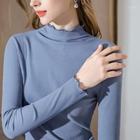 Casual Slim Fit Autumn Spring T-shirt Female Ruffles Side Half A Turtleneck Long Sleeve Tee Femme Ladies Tops Y1684A1