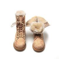 2020 شتاء جديد إمرأة ماتان أحذية أنثى الأزياء الدافئة الثلج أحذية نسائية سميكة المخملية الدانتيل متابعة زائد حجم 33-43 نصف الساق