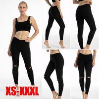 Moda Bayan Diz Yırtık Delik Kalem Pantolon Skinny Ince Streç Tayt Tayt Pantolon Siyah Pantalon Femme Artı Boyutu