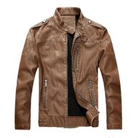 Men's Leather Jackets 2020 New Stand Collar Leather Jacket Men Winter Plus Cashmere Warm Windproof Clothing Size M-2XL
