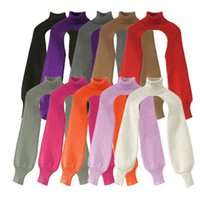 Sondr Mujeres Alto Cuello Suéteres Manga Larga Punto de Punto Irregular Recientemente diseñado Suéteres de punto para mujer Autumn Punto Calle