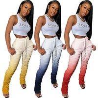 Calças femininas capris haoyuan gradiente sexy empilhado sweatpants mulheres corredores elásticas verão cangings sino bell calças de cintura alta flare r