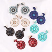 Bohemian Drop Dangle Brinco Nacional Estilo Handmade Weave Arroz Beads Geometria Mulheres Jóias Brincos Circular Pingente 13JQ G2B