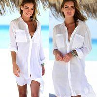 2019 Nuova copertina Summer Donne Beach Wear Bianco Swimwear Tunica Bikini Beach Kaftan Costume da bagno Abito Costume da bagno Costume da bagno Saidsa de Praia Y200708