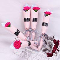 لطيف الدب الصابون زهرة حزمة واحدة روز قرنفل الزفاف المعلمين عيد الحب هدية نمط جديد 0 98GC J2