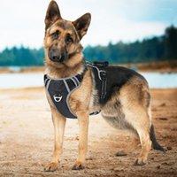 الكلب الياقات المقاود IDEPET كبير تسخير سترة مع مقبض سحب الحيوانات الأليفة السلامة مقعد حزام رحلة تنفس العاكس للكلاب 1