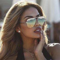 Vintage Pilot Metal Women Sunglasses Oversized Men Driving B...