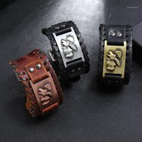 Charme Armbänder Anomokay Vintage Serie Wikinger Rindslederband Armband Bär Muster Herren Punk Lederzubehör1