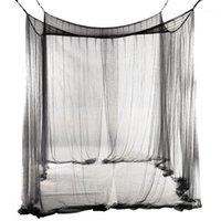 Neue 4-Eck-Bett-Netz-Baldachin-Moskitonetz für Queen / King-Size-Bett 190 * 210 * 240 cm (schwarz) 1