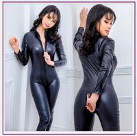 Yeni Faux Deri Lingerie Tulum Seksi Vücut Kadınlar Kadınlar PVC Teddy Erotik Zentai Leotard Kostümleri Lateks Kutup Dansı Bodysuit11