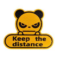 Panda Mantiene la distancia entre los coches Pegatinas reflectantes transfronterizas Fluorescente Amarillo-Verde Hexagonal HEXONAL Dibujos animados Decoración de automóviles