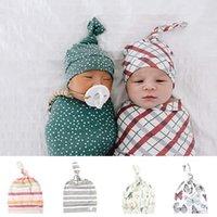 Infant Hat Print-Baby-Kappen-Kleinkind-Jungen-Mädchen-Cap Frühjahr / Sommer 0-6 Monate aus reiner Baumwolle Reifen Hut Neugeborenes Fotografie Props Baby-Caps KKB2755